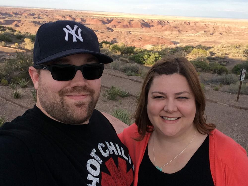 Mrs. Konopacky and her husband at the Painted Desert in Arizona